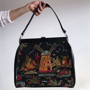 Vintage tapestry bag purse black leather